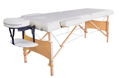 84''L 2'' Pad Cream Portable Massage Table w/Free Carry Case Chair Spa Facial by Alitop