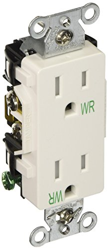 Hubbell DR15WHIWRTR Receptacle Weather and Tamper Resistant, Deco Face, 15 amp, 125V, (Weather Bearings)