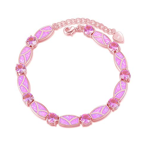 (CiNily Created Pink Fire Opal Topaz Rose Gold Plated for Women Jewelry Gems Chain Bracelet)
