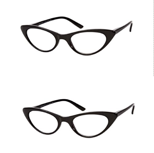 The Brit Cat Eye Reading Glasses, Full Frame Readers for Women +2.50 (2 Pair) Black (2 Microfiber Cleaning Pouches Included)