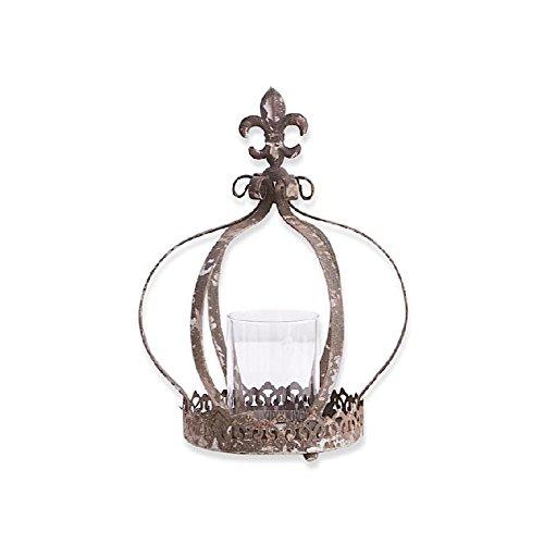 K&K Interiors Metal Crown Candle w/Glass Votive Holder