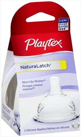 Playtex Natural (Plytx Nat Latch Nipple Fs Size 2pk Playtex Natural Latch Nipple Fast Flow 2pk)