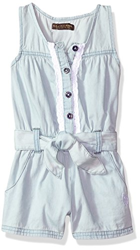 Eyelet Front Button - U.S. Polo Assn. Girls' Toddler Romper, Button Front Eyelet Trim ice wash, 2T