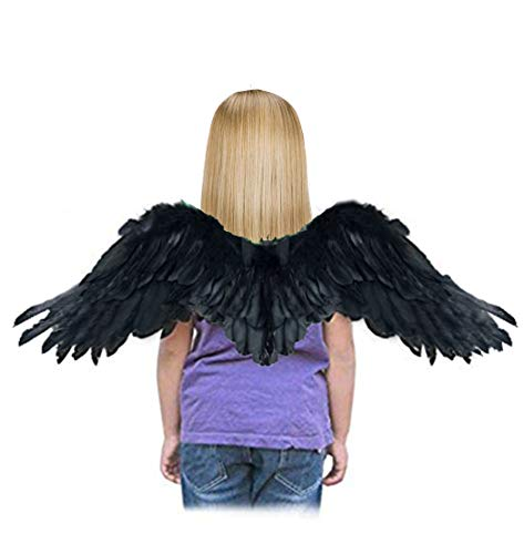 SACASUSA (TM Small Feather Angel Halloween Costume Wings in Black for Kids Children -