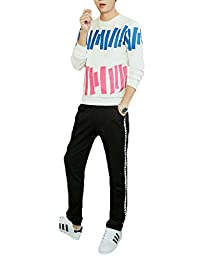 Ubasics Men's PullOnStyle Straight Athletic Pullover Tracksuits White 44