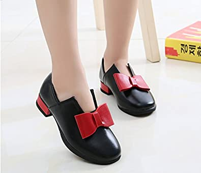 Veribuy Little Kids Girls British Style Dress Shoes Rhinestone Bowknot Princess Shoes PU Leather Sneakers Black//White//Red