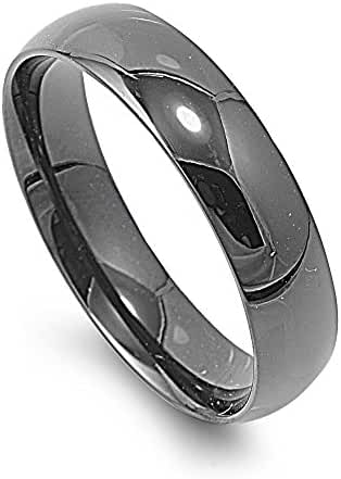 Stainless Steel Plain Hematite Colored Band Ring 6MM