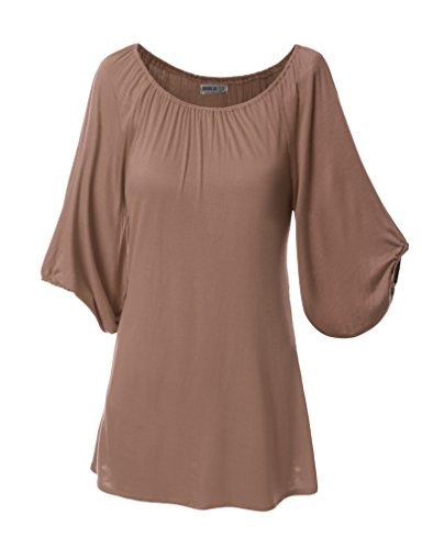 SJSP Women 3/4 Sleeve Elastic Ribbed Neckline T-shirt Tunic Top Mocha XL