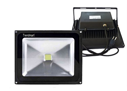 Trendmart® Led Floodlight Lamp 50w Cool White With Plug Waterproof IP 65 Outdoor Security Wash Flood Light , Landscape Lighting(Black Case ) (50 Watts)