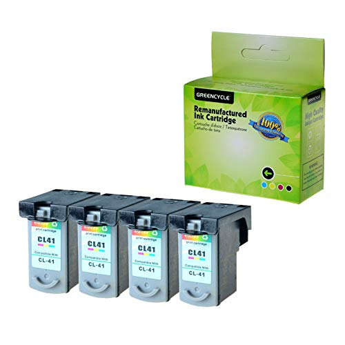 GREENCYCLE 4 Pack Remanufactured CL41 CL-41 Tri-Color Ink Cartridge Compatible with Canon FAX JX200 PIXMA iP1600 iP1800 MP180 MP450 MX310 Printer