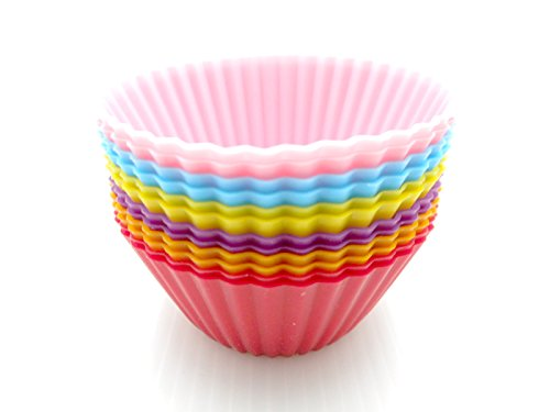 Silicone Cupcake Baking Muffin Cups Liners Molds Sets / Set - 12 Pack Reusable & Nonstick Standard Size in 6 Colors