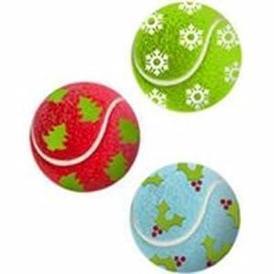 Kong Christmas Weihnachten Tennisbälle Größe: 3 Stück / Medium