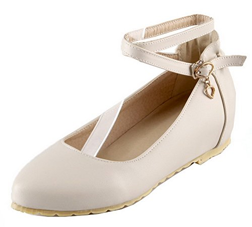 VogueZone009 Women's Buckle PU Closed-Toe Low-Heels Solid Pumps-Shoes Beige mWxLEZrDO