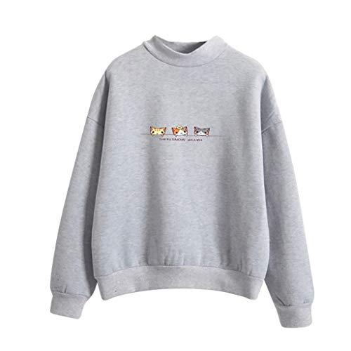 Estampado Tops De Jersey Primavera Sudadera Para Gusspower Tres By Camiseta Gatos Manga Blusa Gris Mujer Larga EqzE7FXw