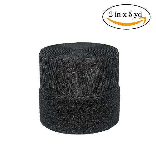 HUAYY 2 Inches width 5 Yards length,Sew on Hook and Loop Style,Non-Adhesive Nylon Strips Fabric,Black (2in x 5yd) by Huayueyun