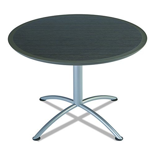 Iceberg 69834 iLand Meeting/Conferencing Table, Urethane Molded Edge, 42'' Round, 29'' Height, Gray Walnut, Silver Base by Iceberg