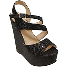 I HEART COLLECTION Litzy-02 women's Bling Beads Glitter Strappy Buckle Platform Wedge Sandals