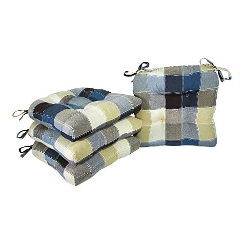 Arlee Harris Plaid Chair Pad Seat Cushion, Full-Length Ties for Non-Slip Support, Durable, Superior Comfort & Softness, Reduces Pressure, Washable, for Indoor Use, 16