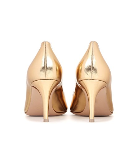 EDEFS 65mm Kitten Heels Klassische Damen Pumps Pointed Toe Kleid Brautschuhe Partei Büro Geschlossen Pumps Gold