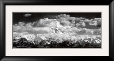 Mt. McKinley Range, Clouds, Denali National Park, Alaska, 1948 Framed Art Poster Print by Ansel Adams, 42x23 by Art
