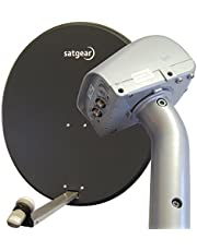 80cm Motorised Satellite Dish Kit with satfinder, single LNB, and 20m cable
