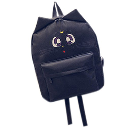 Bag Casual Backpack Girls Nylon Ear Printing Etbotu match with Black Cat Cute for Cartoon Shoulder Fashion All wUqvn5XxB