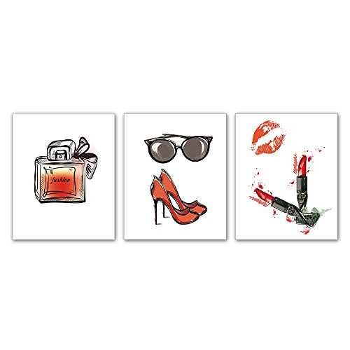 Kairne Fashion Art Print ,High Heels Lipstick Handbag Glasses Perfume Woman Wall Art, Set of 3 8x10 inch no Frame,Vintage Watercolor red Lips Wall Art Picture,for Girls Room Living Room Home Decor