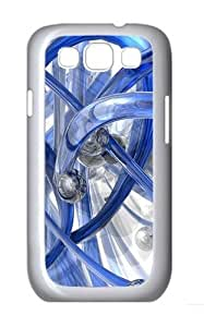 3D Blue Piping Custom Hard Back Case Samsung Galaxy S3 SIII I9300 Case Cover - Polycarbonate - White