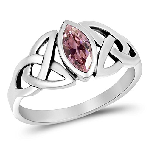 Sterling Silver Pink CZ Ring Irish Celtic Knot Design Band 925 Fancy Size ()