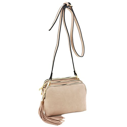 Triple Pink with Dusty Crossbody Tassel Bag Mini Compartment r0ZqwrP