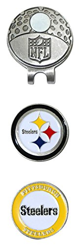 (Team Golf NFL Pittsburgh Steelers Golf Cap Clip with 2 Removable Double-Sided Enamel Magnetic Ball Markers, Attaches Easily to Hats)