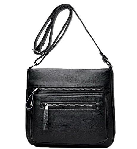 AgooLar Femme Achats Zippers Pu Cuir Des sacs Sacs à bandoulière,GMBBB180959 Noir
