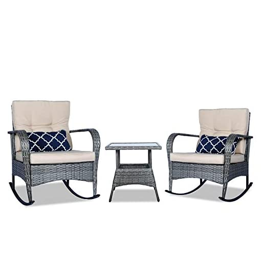Garden and Outdoor 3 Pieces Patio PE Rattan Conversation Chair Set, Outdoor Furniture Rocking Chair Set with Water-Proof Cushion&Coffee…