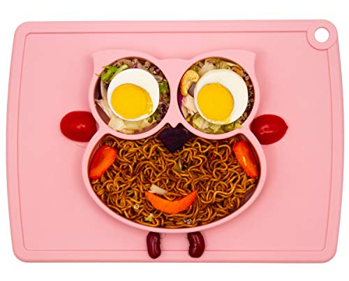 Qshare Toddler Plate, Portable Baby Plates for Toddlers and Kids, BPA-Free FDA Approved Strong Suction Plates for Toddlers, Dishwasher & Microwave Safe Silicone Placemat 11x8x1 inch (1Owl-Cream Pink)