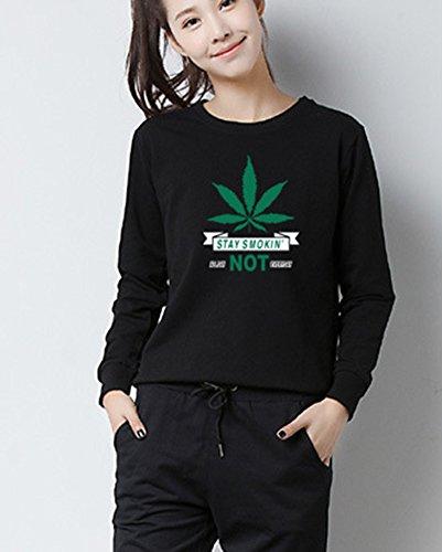 Camiseta Mangas Largas Girl T-Shirt Crewneck Blouse Sudaderas Para Mujer Negro