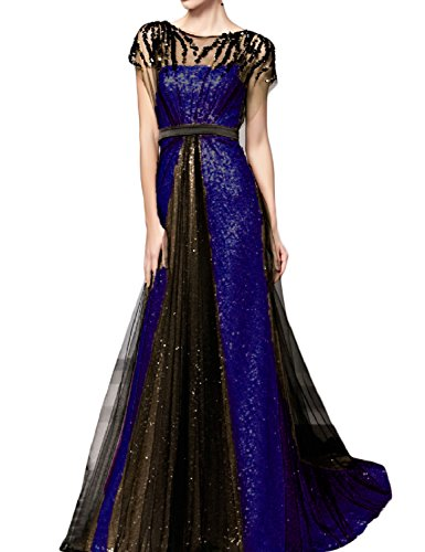 Sleeves Formal A Womens with Line 3SQ Long OYISHA Black Dress Royal amp; Blue Evening Gowns Sequins qvF1w