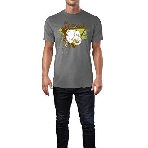 SINUS ART ® Elefantenkopf im Street Style Herren T-Shirts in Grau Charocoal Fun Shirt mit tollen Aufdruck