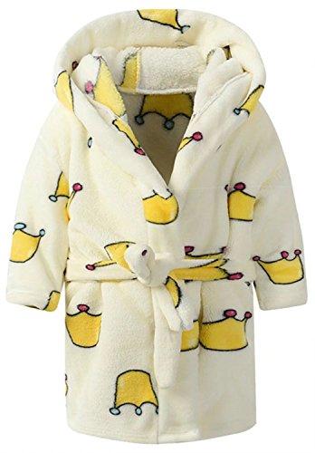 Ameyda Kids Coral Fleece Bathrobe Toddler Boys and Girls Hooded Robe Pajamas -