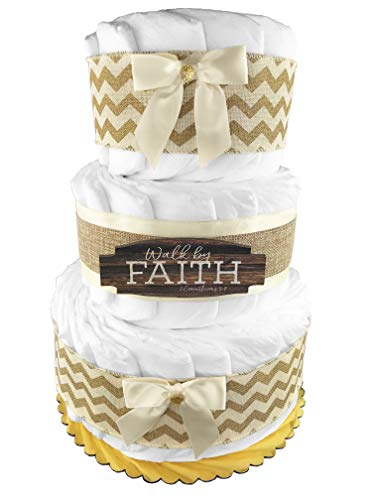 Gender Neutral Rustic 3-Tier Diaper Cake - Gender Neutral Baby Shower Gift - Boy or Girl - Inspirational - Cream and Gold ()