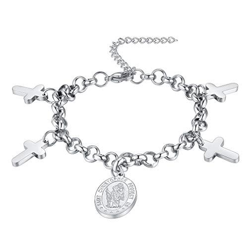 - FaithHeart Saint Christopher Bracelet Stainless Steel Catholic Patron Saint Medal Pendant Jewelry, Best Blessings Gift Customize Available (Send Gift Box)