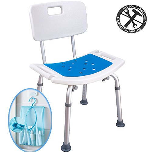 Medokare Shower Chair with Padded Seat - Shower Seat for Seniors with Back Rest Tote Bag and Handles, Shower Bench Bath Stool, Handicap Tub Shower Seats for Adults (White Chair)
