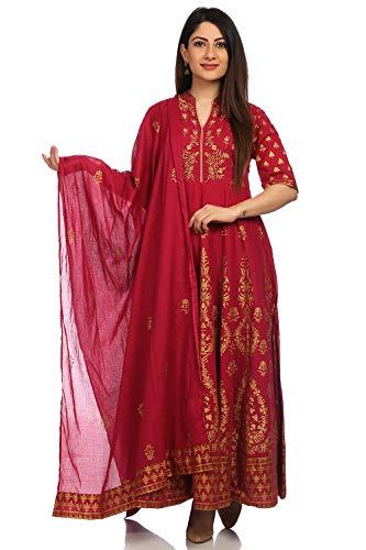 Kameez Set - BIBA Women's Wine Cotton Salwar Kameez Dupatta Size 38