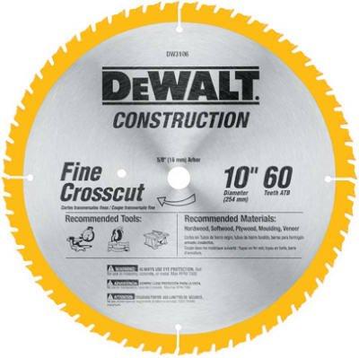 Dewalt DW3106 10'' 60T Fine Finish Circular Saw Blade