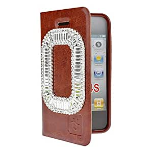 Rectangle Diamond Look PU Leather Full Body Case with Suction Cup and TPU Back Cover for iPhone 4/4S (Optional Colors) --- COLOR:Black