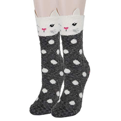 Girls Women Cute 3D Animal Non-Slip Soft Fuzzy Slipper Socks, 1 Pack 3D Dot Cat