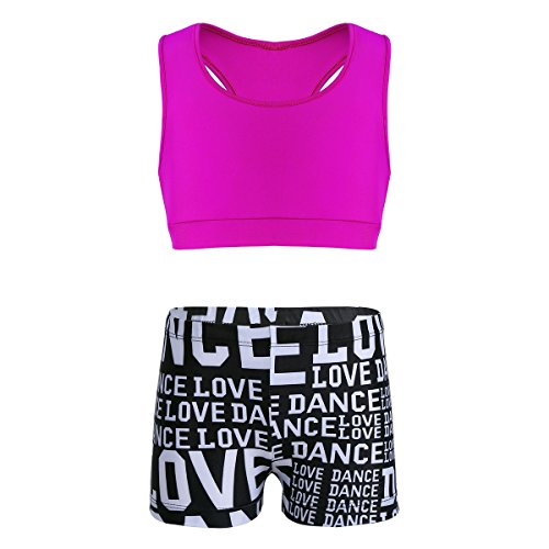 MSemis Girls' Kids 2-Piece Sport Dance Outfit Crop Top with Booty Shorts Gymnastics Leotard Dancing Swimwear Rose & Black 10-12 by MSemis