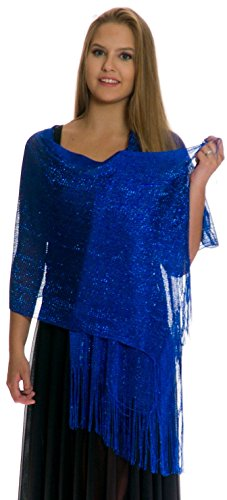 Royal Blue Wrap - Shawls and Wraps for Evening Dresses, Wedding Shawl Wrap Fringes Scarf for Women Royal Blue