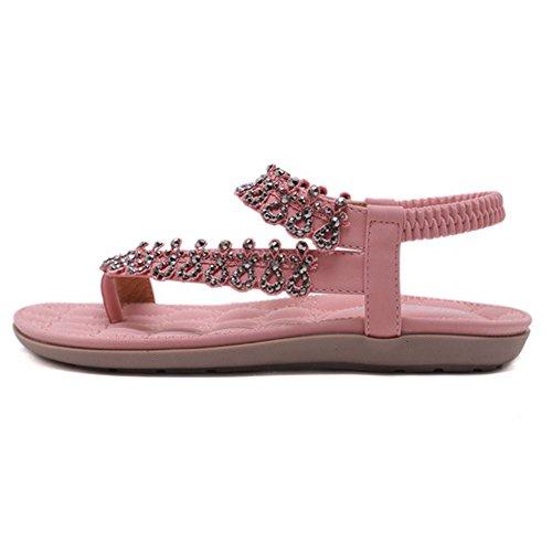 Del Zapatos Sandalias Del Verano Bohemia De Pink Rhinestone De Las Planos Flor Beach La Pie Mujeres Con Tobillo Dedo Chanclas De Del Banda Elástica O1Oar