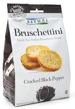 Asturi Cracked Black Pepper Bruschettini (Snack Size Italian Bruschetta Toasts), Buy TWELVE Bags and SAVE, Each Bag is 4.23 oz (Pack of 12) by Asturi