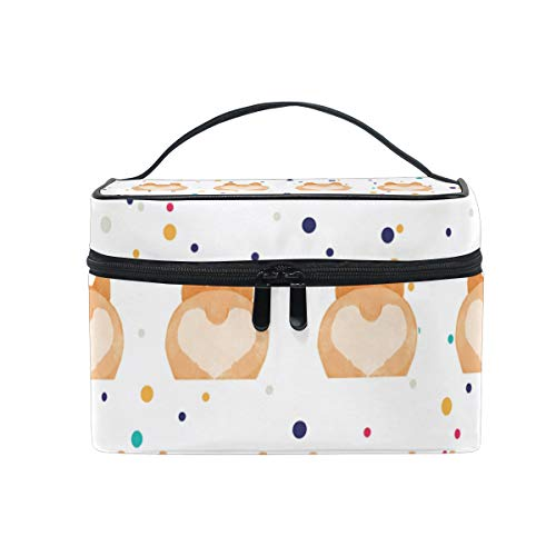 Corgi Butt Love Cosmetic Bags Organizer- Travel Makeup Pouch Ladies Toiletry Train Case for Women Girls, CoTime Black Zipper and Flat Bottom